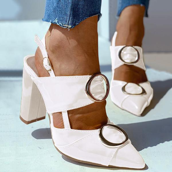 Remishoes O Ring Ankle Buckled Chunky Heeled Sandals