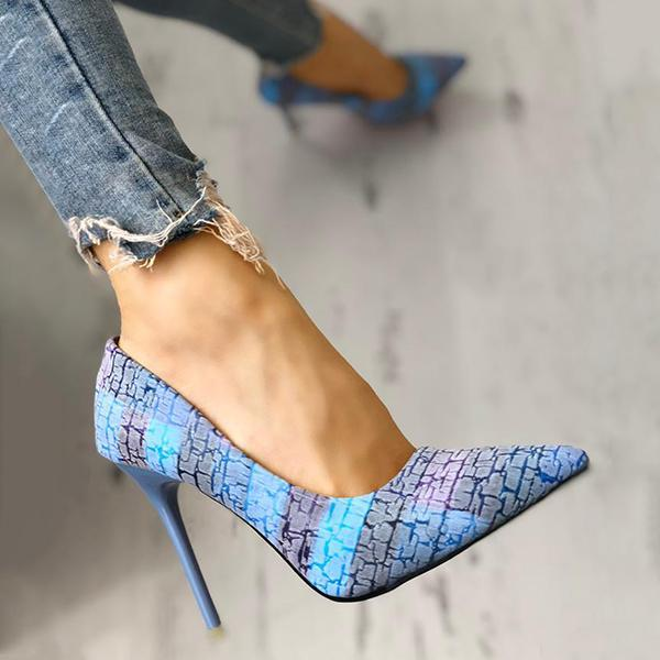 Remishoes Contrast Color Pointed Toe Thin Heels