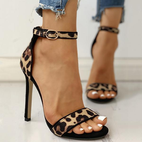 Remishoes Suede Leopard Peep Toe Ankle-buckled Thin Heels