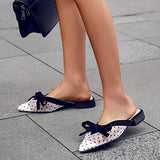 Remishoes Women Pointed Toe Butterfly Knot Slippers