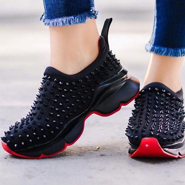 Remishoes Women Athletic Microfiber fabric Rivet Slip On Platform Sneakers