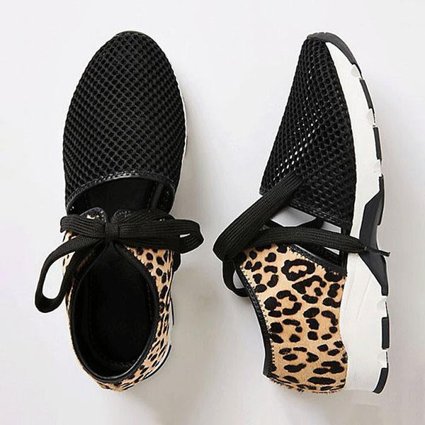 Remishoes Women Fabric Mesh Lace-up Hollow-out Zebra/Leopard Sneakers