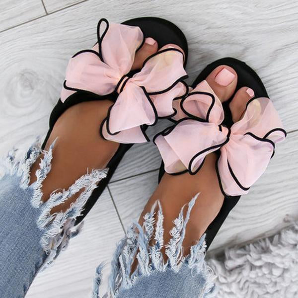 Remishoes Casual Thick Non-slip Bow Slippers