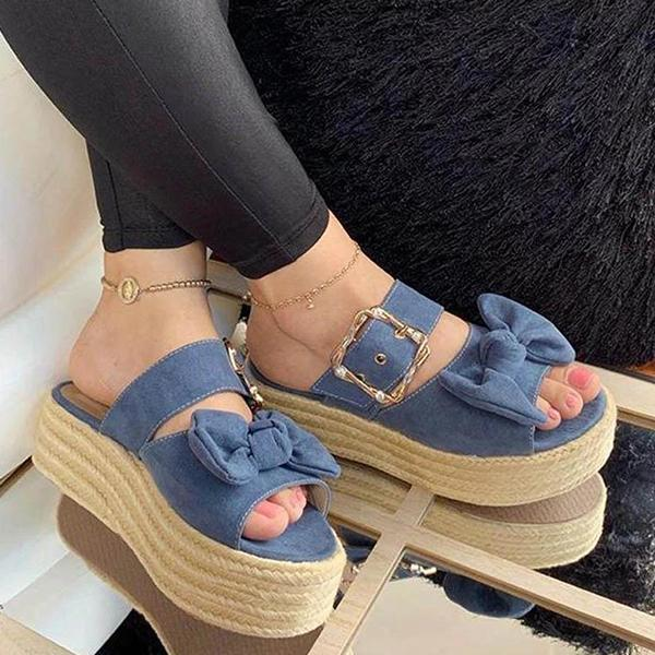 Remishoes Wedge Heel Summer Faux Suede Sandals
