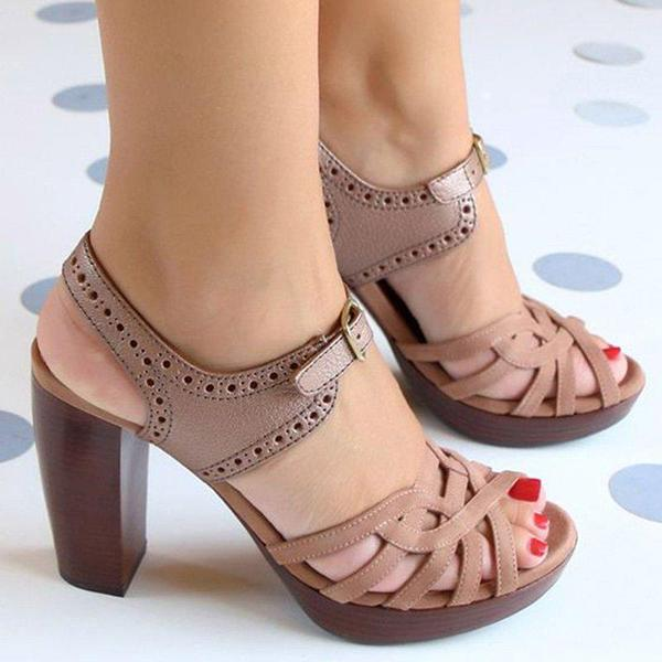 Remishoes Peep Toe Chunky Heel PU Buckle Sandals