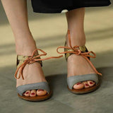 Remishoes Vintage Low Heel Color Block Sandals