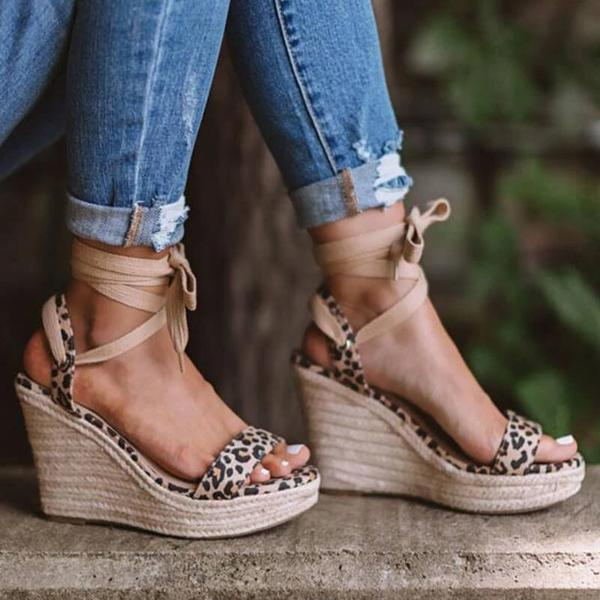 Remishoes Women Casual Roman Leopard Wedge Sandals