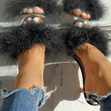 Remishoes Peep Toe Fluffy Thin Heeled Sandals
