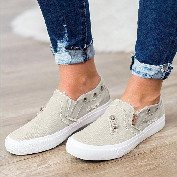 Remishoes Women Casual Distressed canvas Sneakers
