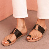 Remishoes Black Summer Leather Slippers