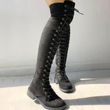 Remishoes Knee-High Eyelet Lace Up Side Zipper Boots