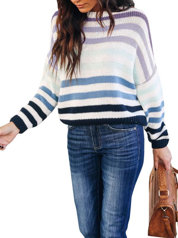 Remishoes Long Sleeve Striped Loose Pullover Sweaters