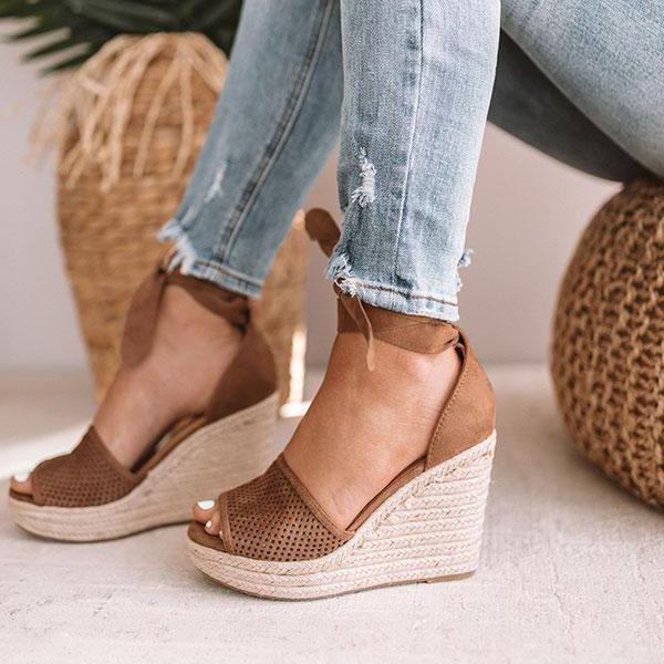 Remishoes Espadrille Lace Up Wedge Braided Sandals