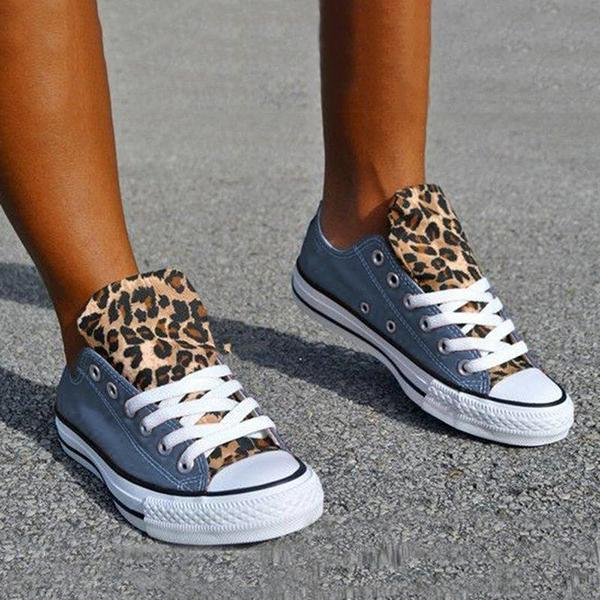 Remishoes Lace-Up Canvas Leopard Flat Heel Casual Sneakers