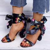 Remishoes Chunky Heel Open Toe Cloth Sandals