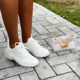 Remishoes Faux Patent Mesh Clear Overlay Sneakers
