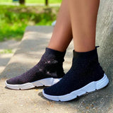 Remishoes Black Stretch Knit Sneakers