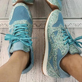 Remishoes Women'S Solid Sequined Lace-Up Sneakers