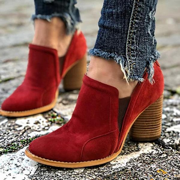 Remishoes Elegant Slip On Chunky Heel Ankle Boots( Ship in 24 Hours)