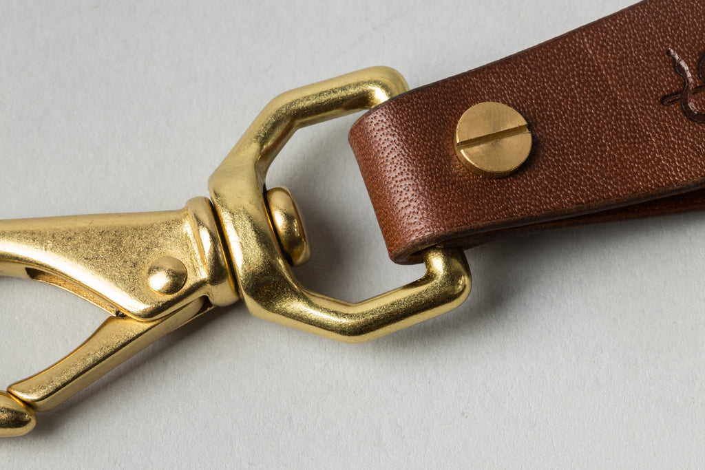 Coffin Key Fob Brandy W/ Tan