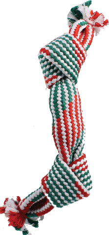 Holiday Super Squeak 2 Knot Rope Dog Toy