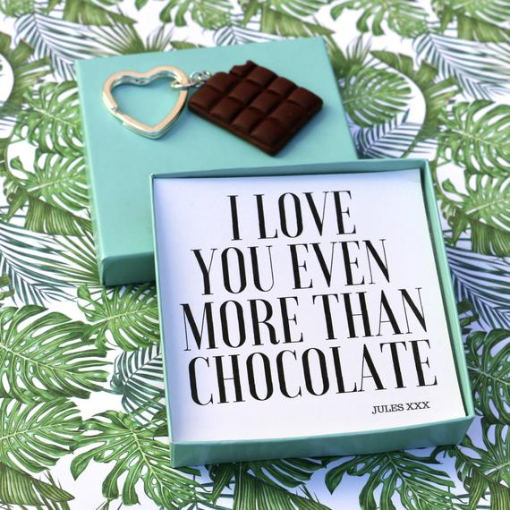 I Love You Even More Than Chocolate (Chocolate Bar) - Keyring Message Box