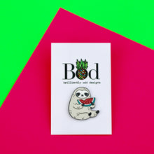 Load image into Gallery viewer, Sloth with Watermelon Pin Badge