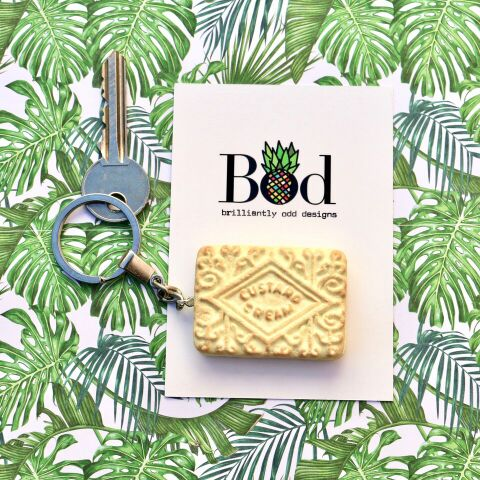 Custard Cream Biscuit - Keyring
