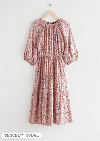 Puff sleeve midi dress from & other stories not breastfeeding friendly