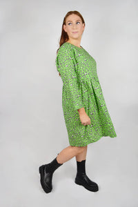 Smock dress for nursing green leopard print