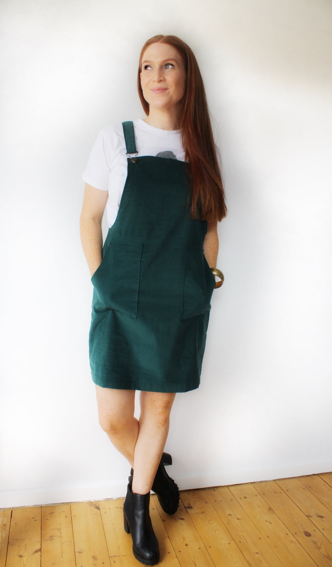 Breastfeeding Dress Pinfore Dress Needlecord Cotton Green sustainable fashion made in the UK