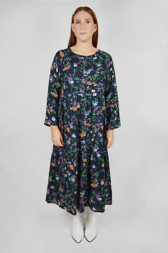 Breastfeeding dress navy floral print
