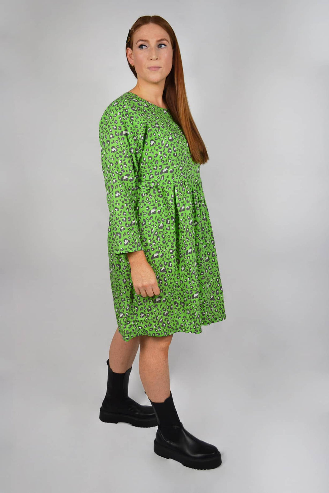 Green leopard print smock dress for breastfeeding