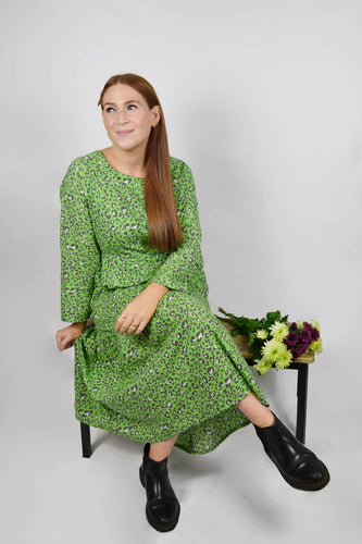 Green leopard print maxi dress for breastfeeding