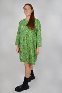 Maternity and nursing dress green leopard print