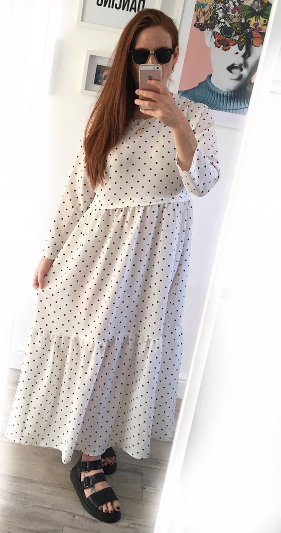 Polka Dot Tiered Breastfeeding Dress