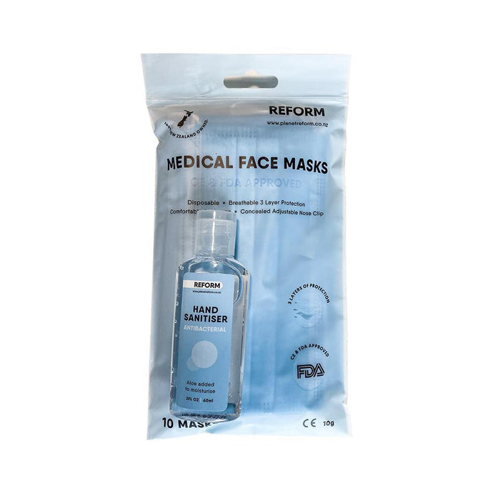 PPE COMBO - 10 Pack Face Mask & 60ml Hand Sanitiser