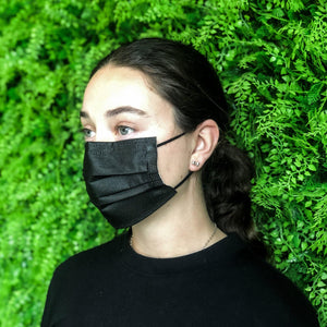 Black 3 Ply Disposable Face Mask - 10 Pack