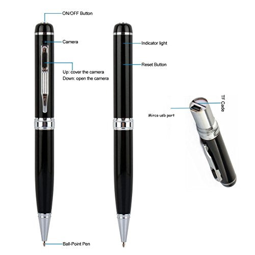 Multi-function Hidden Camera Spy Pen Camera -Full HD 1080P Video Camera Pen Loop Recording, Plug and Play to PC/Mac DVR Cam with Free 5 Black Refill