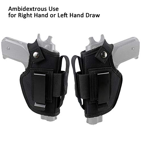 Depring Concealed Carry Holster IWB OWB Car Holster with Magazine Slot and 2 Strap Mounts for Right and Left Hand Draw Fits Subcompact to Large Handguns | Version 2.0