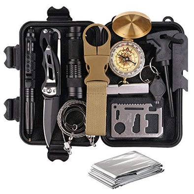 Survival Gear Kits 13 in 1- Outdoor Emergency SOS Survive Tool for Wilderness/Trip/Cars/Hiking/Camping gear - Wire Saw, Emergency Blanket, Flashlight, Tactical Pen, Water Bottle Clip ect...