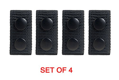 Tomixxx Traditional Black Law Black Nylon Belt Keeper With Double Snaps - Set of 4