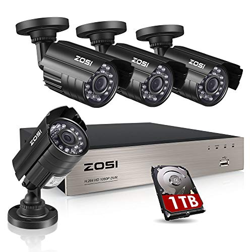ZOSI 8CH Security Camera System HD-TVI Full 1080P Video DVR Recorder with 4X HD 1920TVL 1080P Indoor Outdoor Weatherproof CCTV Cameras 1TB Hard Drive, Motion Alert, Smartphone, PC Easy Remote Access