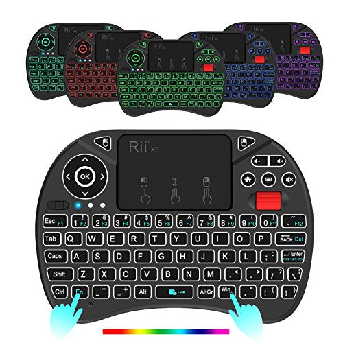 Rii X8 2.4GHz Mini Wireless Keyboard with Touchpad Mouse Combo, RGB Backlit, Rechargeable Li-ion Battery-Black