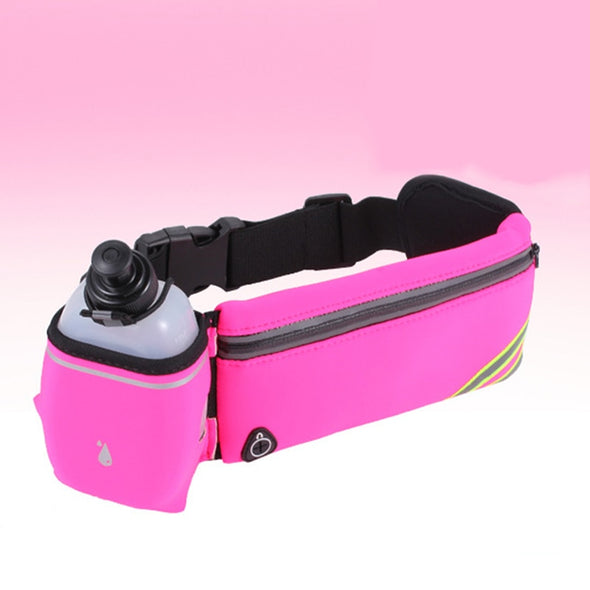 Sports Fitness Bag + Water Bottles SET Hydration Running Belt Fanny Waist Pack Low profile design