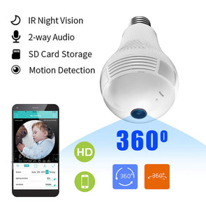 WiFi Mini Secret Camera Light Bulb 960P Night Vision 360 Degree HD Video Voice Recorder Remote Micro Cam Support Hidden TF Card