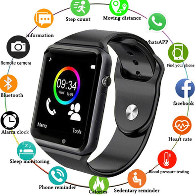 WristWatch A1 Bluetooth Smart Watch Men Sport Pedometer with SIM Camera Smartwatch for Android Smartphone Russia Good PK DZ09