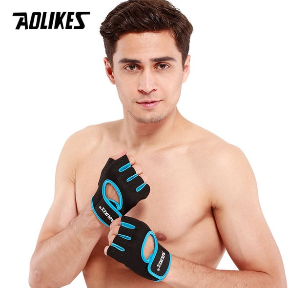 AOLIKES 1 Pair Men Women Gym Half Finger Sports Fitness Exercise Training Wrist Gloves Anti-slip Resistance Weightlifting Gloves