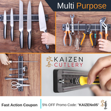 Kaizen Cutlery Magnetic Knife Strip For Refrigerator With Adhesive Backing, 13 Inch Magnetic Knife Holder and Storage, Multi Purpose Functionality Knife Magnet