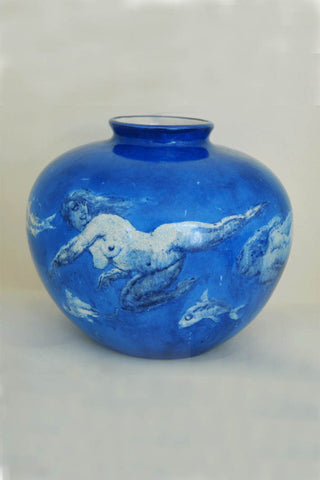 Norman LIndsay Blue Swirl Reproduction Vase